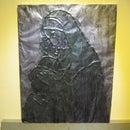 Art Work With Aluminium Foil Over Cardboard
