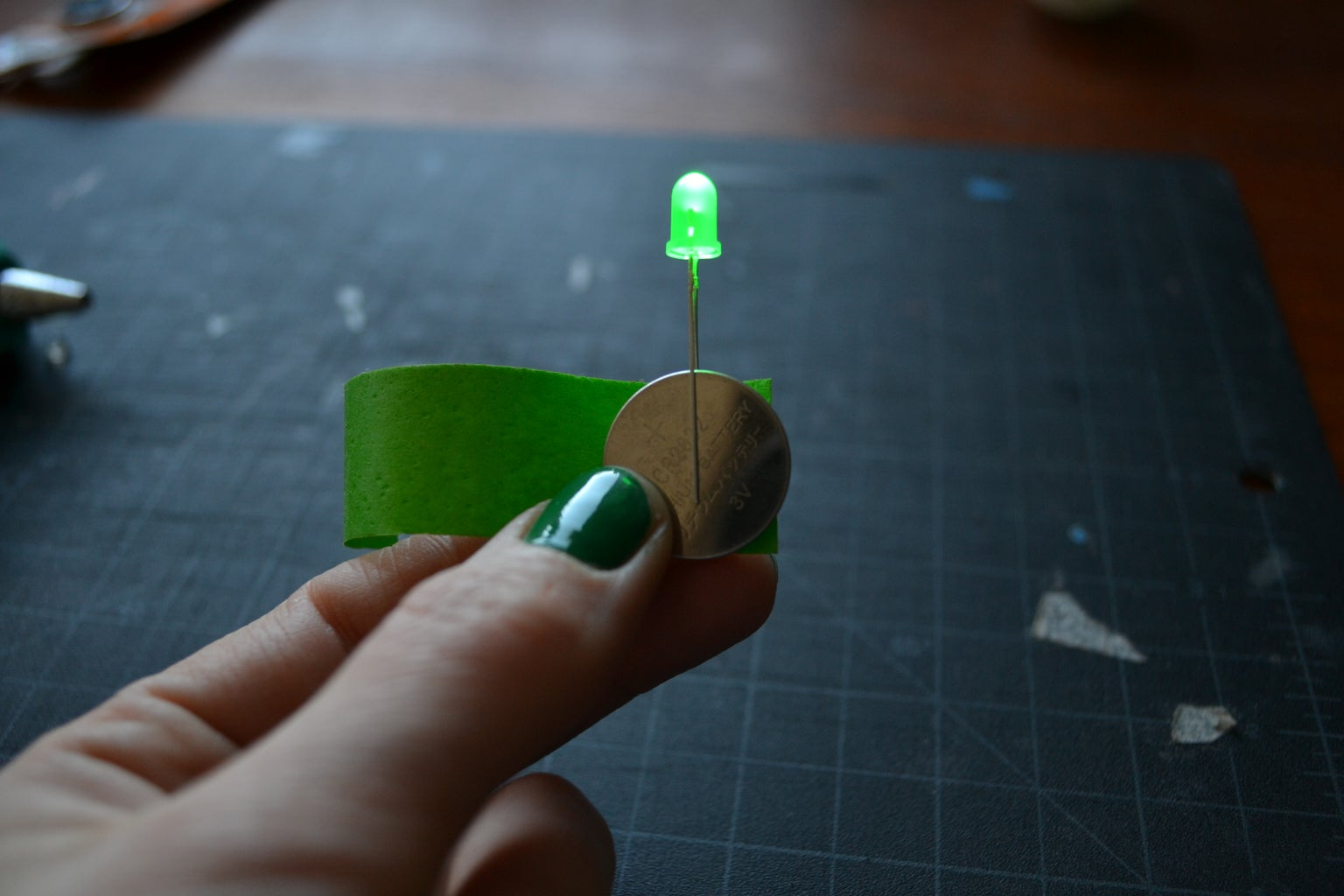 Attach the LED to the Battery