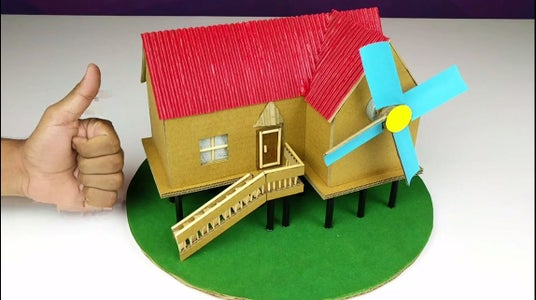 Complete the Structure of the Windmill Using Cardboard Pieces As Shown. Use Desired Colour to Paint the Roof and Blades. Your Windmill Generator Is Complete!