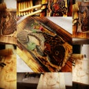wood carve koi fish
