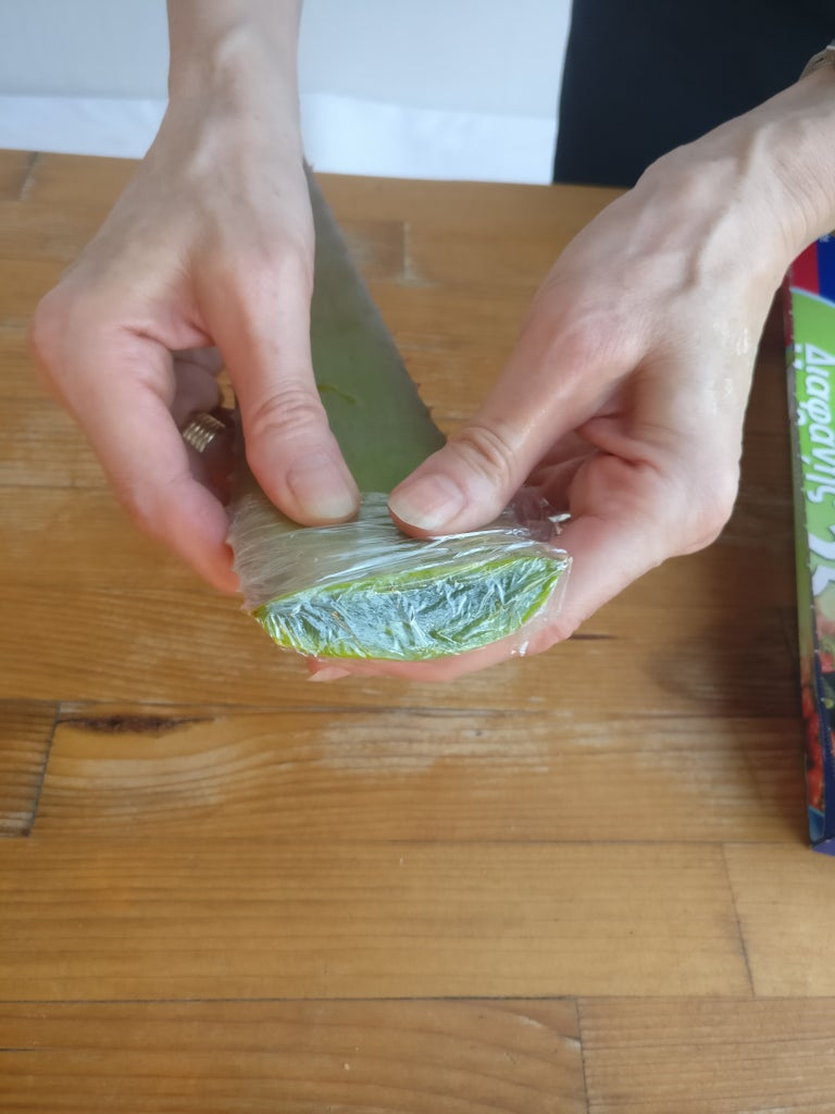 Cover the Fresh Part of the Aloe Vera Leaf in Plastic Wrap or Foil.
