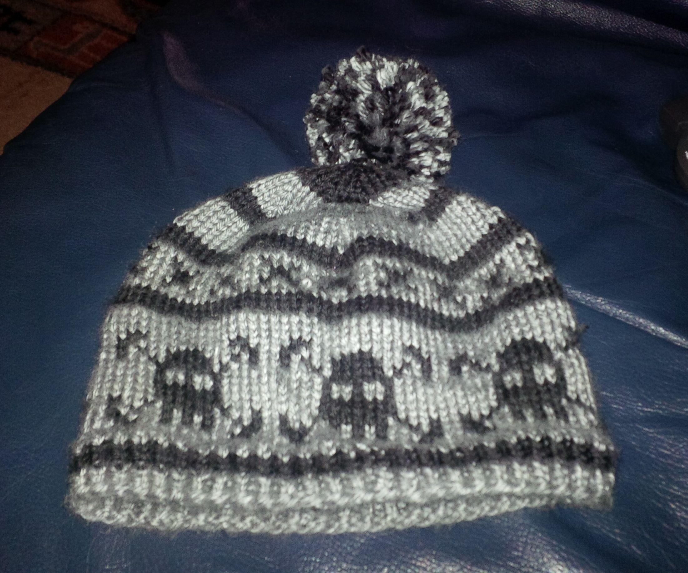 Knitted Skull and Bones Hat for Toddler