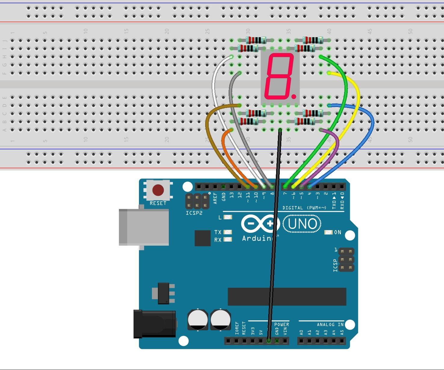 7-segment Display Using Arduino Uno R3