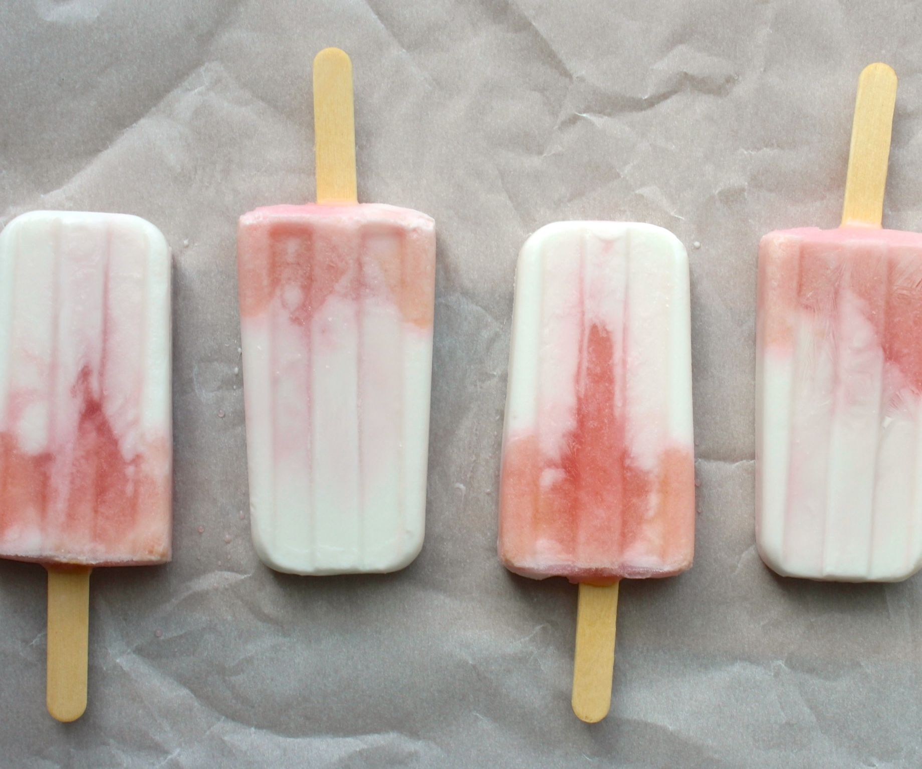 coconut milk and fruit juice popsicles