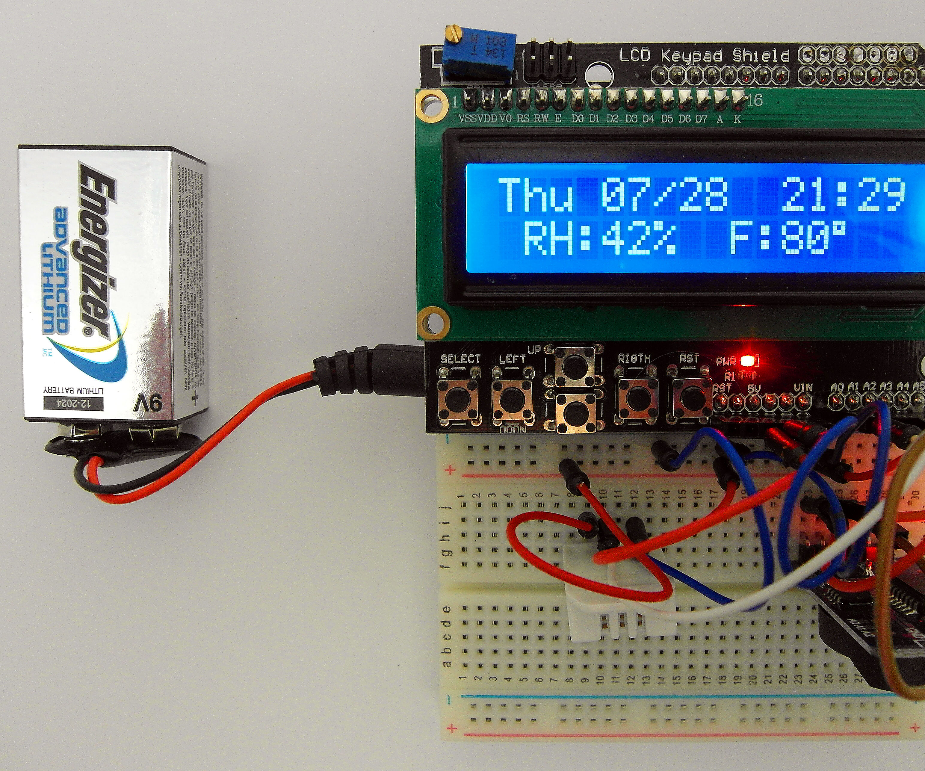 Day of The Week, Calendar, Time, Humidity and Temperature: Battery Saving Sketch, LCD Shield,  DHT22, RTC3231 and Arduino