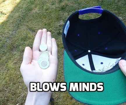 How to Do Crazy Magic Coin Trick With Coins and a Hat!