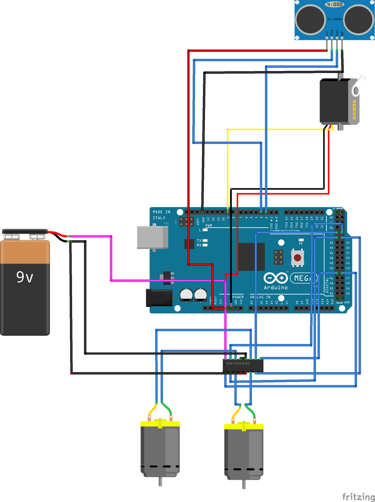Connections to Be Made for Obstacle Avoidance Robot