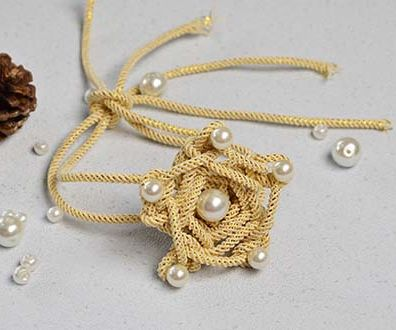 Pandahall Original DIY - How to Make a Champagne Yellow Polyester Cord Star Flower Bracelet