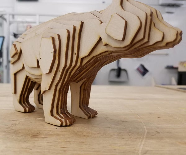 Laser Cut Bear From Stacked Slices