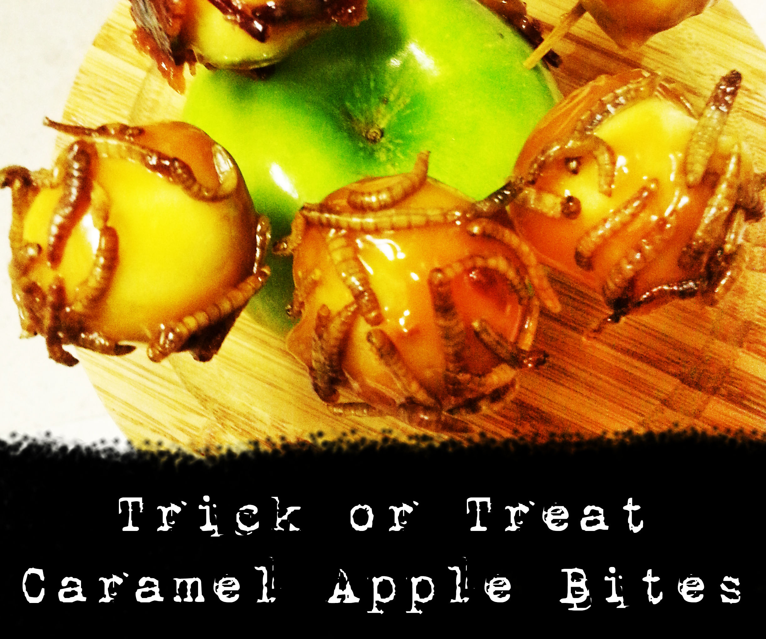 Trick or Treat Caramel Apple Bites with Candied Bacon and Mealworms