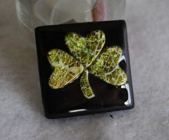 Polymer Clay Shamrock Pin