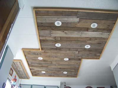Inexpensive kitchen light upgrade, using pallet wood