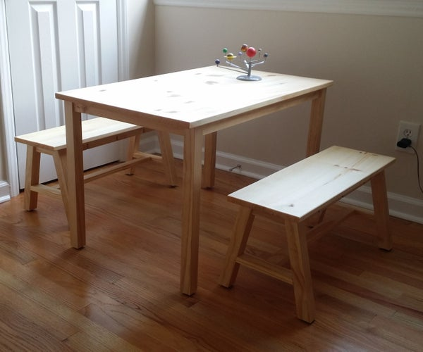 Simple Wooden Table and Benches for Kids