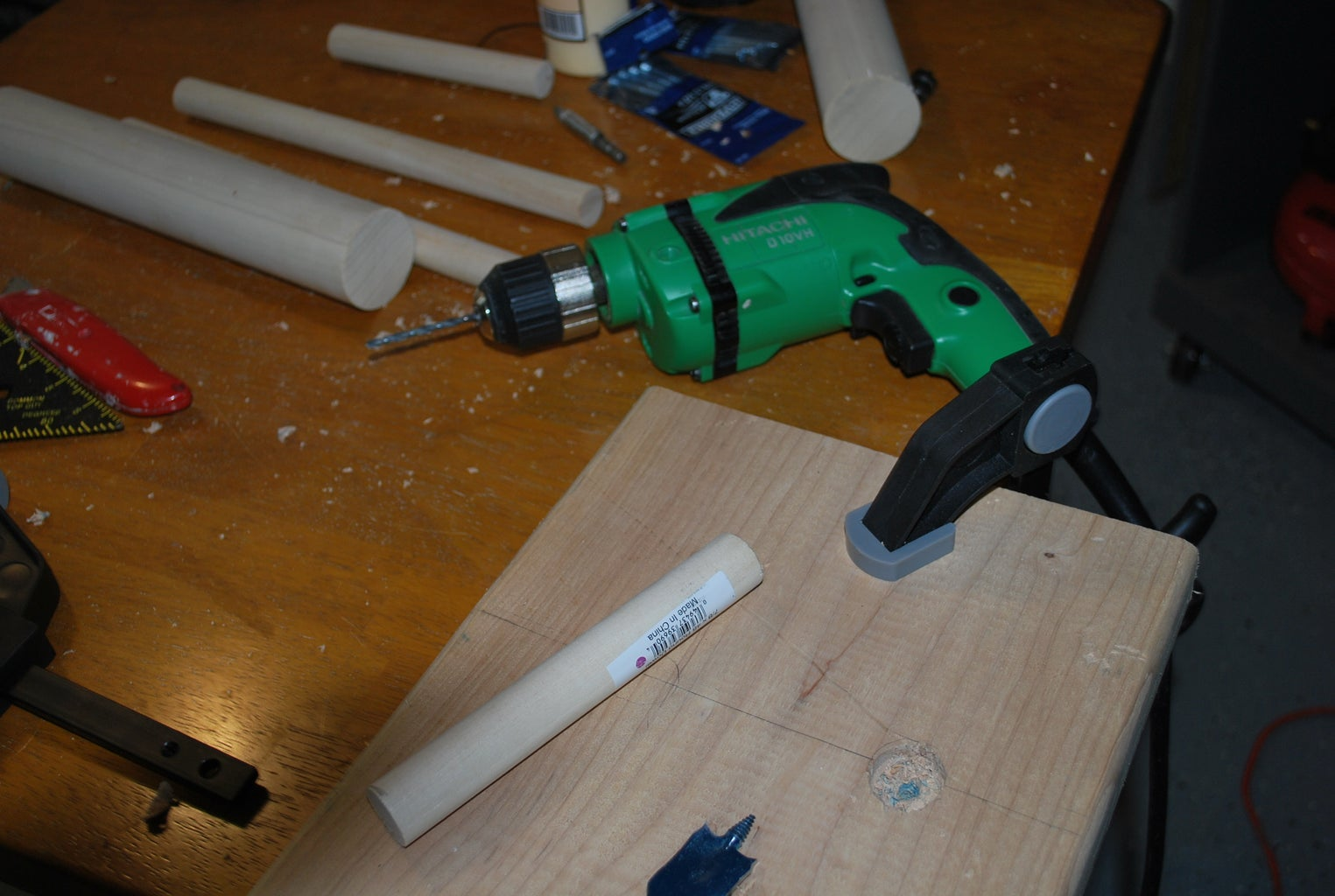 Drilling Partial Holes for the Dowels