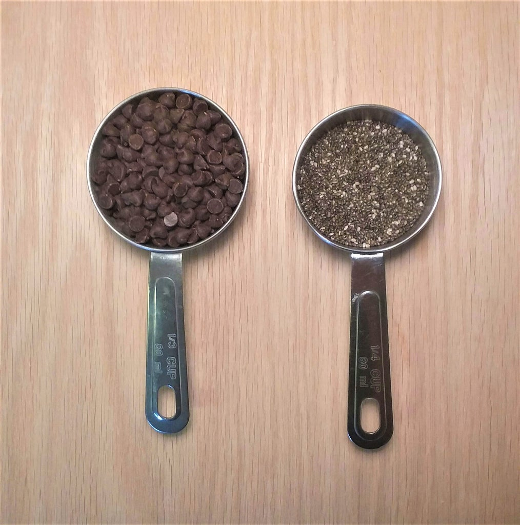 Add Half the Dry Mixture + Chia and Chocolate