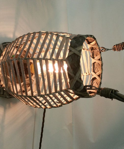 Upcycled Rattan Edison Lamp
