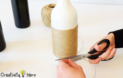 Wrapping Hemp Twine Around the Bottles With a White Glue. (Method 1: Wrapping Bottles With Twine)