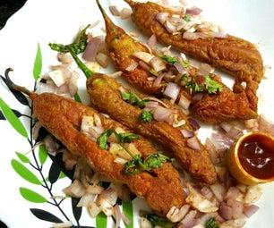 Mirchi Bajji (Chilli Fritters) - Indian Street Food