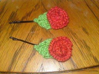 Knitted Rose Hair Pins  *easy*