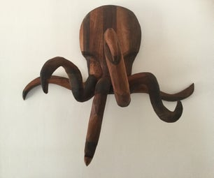 Octopus Coat Rack - Carved From Walnut