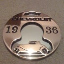 custom sign made from used brass clutch disc on waterjet using vectric aspire