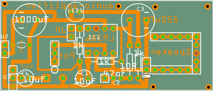 LM368 Amplifier: the PCB