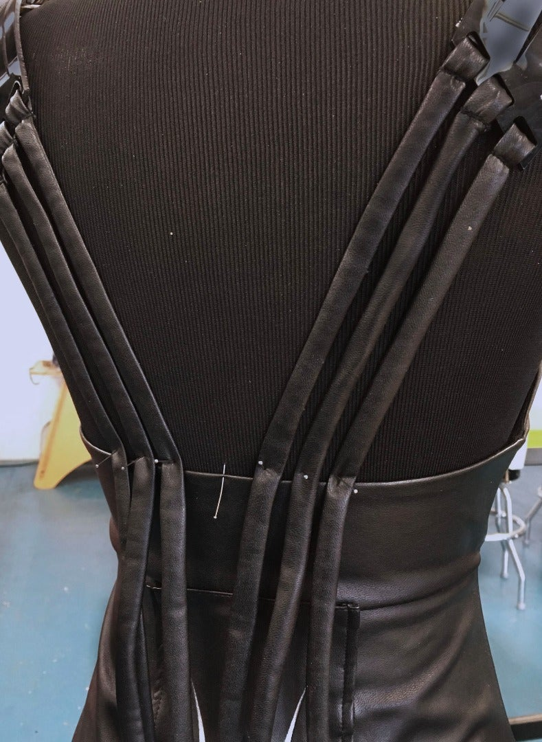 Sew the Fabric Strips Onto the Dress