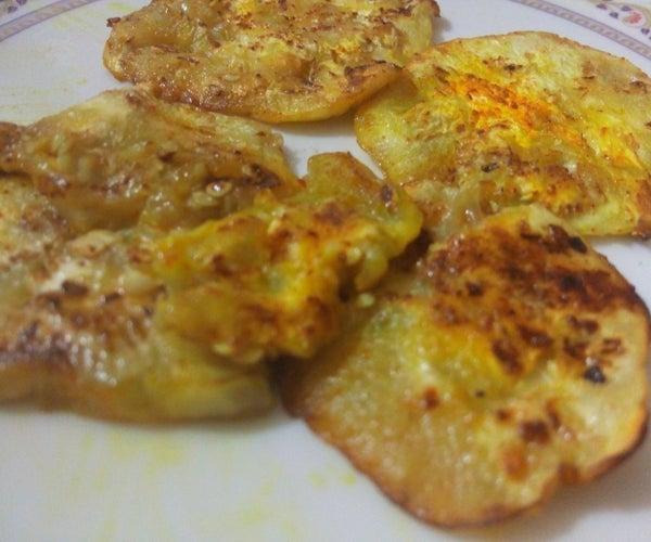 Eggplant (Brinjal) Saute Chips (a.k.a Brinjal Ke Fette)