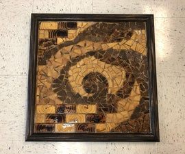 Wooden Mosaic Tiled Wall Piece