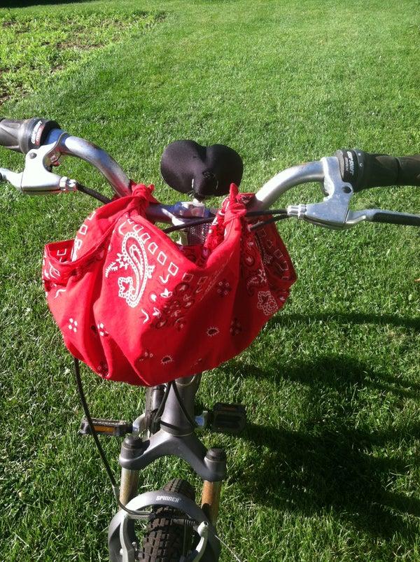 Practical Furoshiki: Using a Bandanna As a Bike Handlebar Carrier