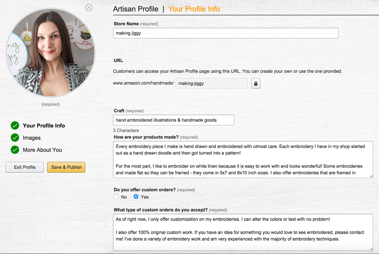 "Create Your ""Artisan Profile"""