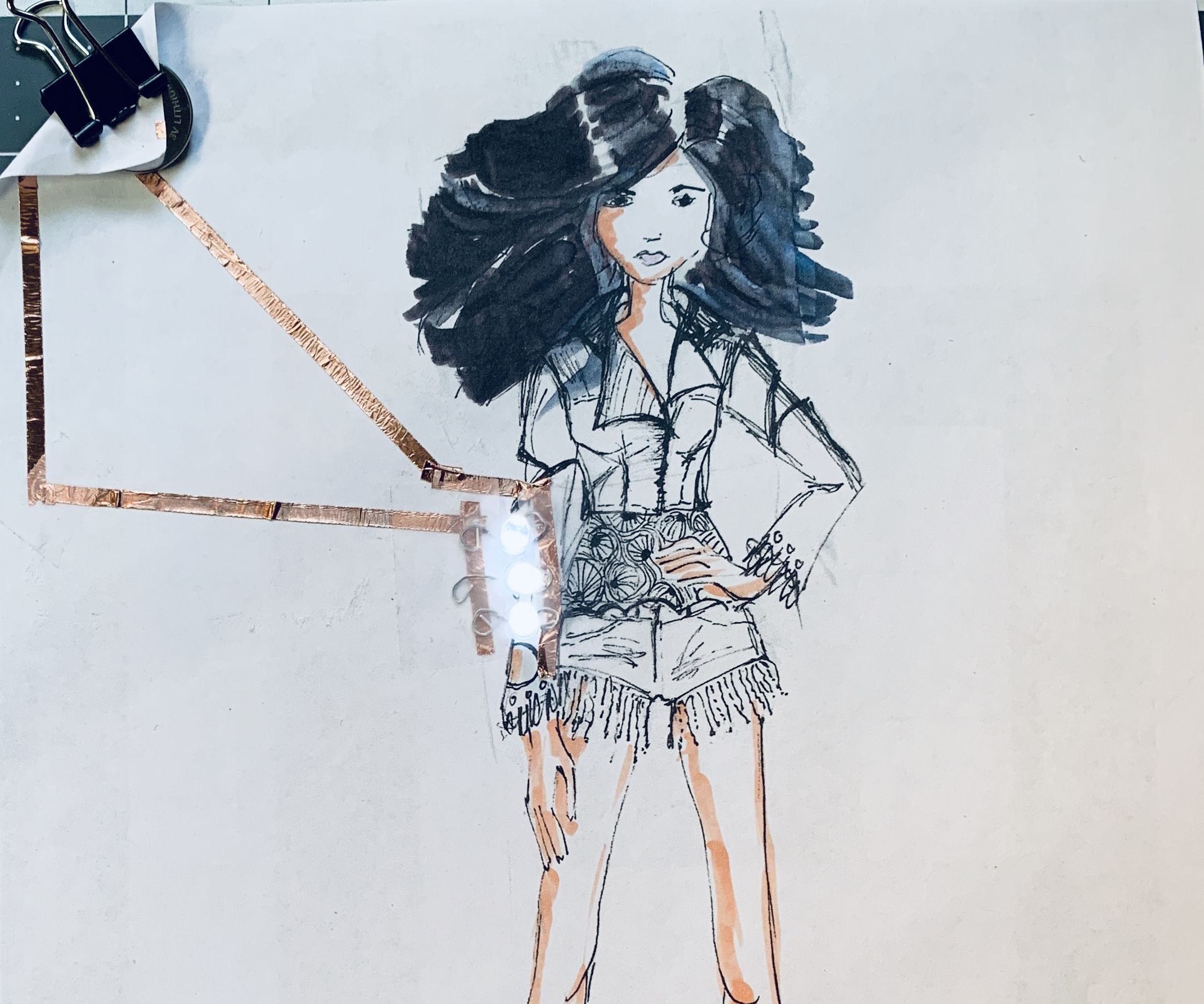Fashion Sketch With Paper Circuit