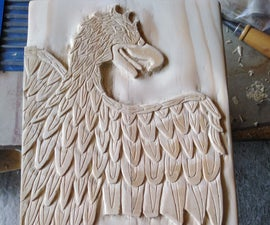 Wooden Eagle Relief Carving