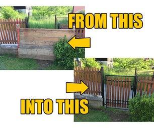 将一扇旧大门修复并安装到栅栏的空白处
