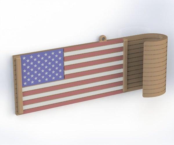 American Flag Toboggan Ornament