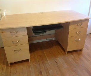 Eletronics Friendly Office Desk Made With CNC Router and Plywood
