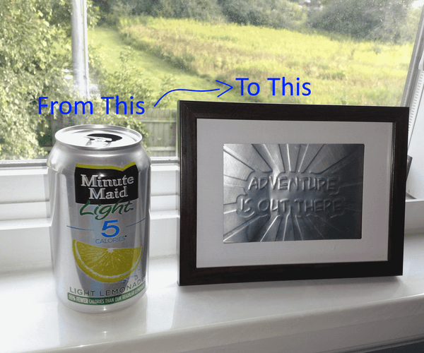 Embossed Metal Artwork From a Pop Can