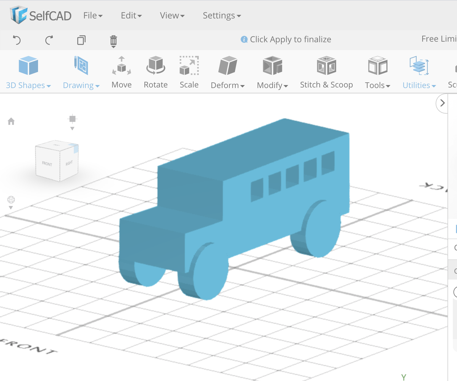 Learn SelfCAD- an Online 3D Modeling Software: Designing a Bus