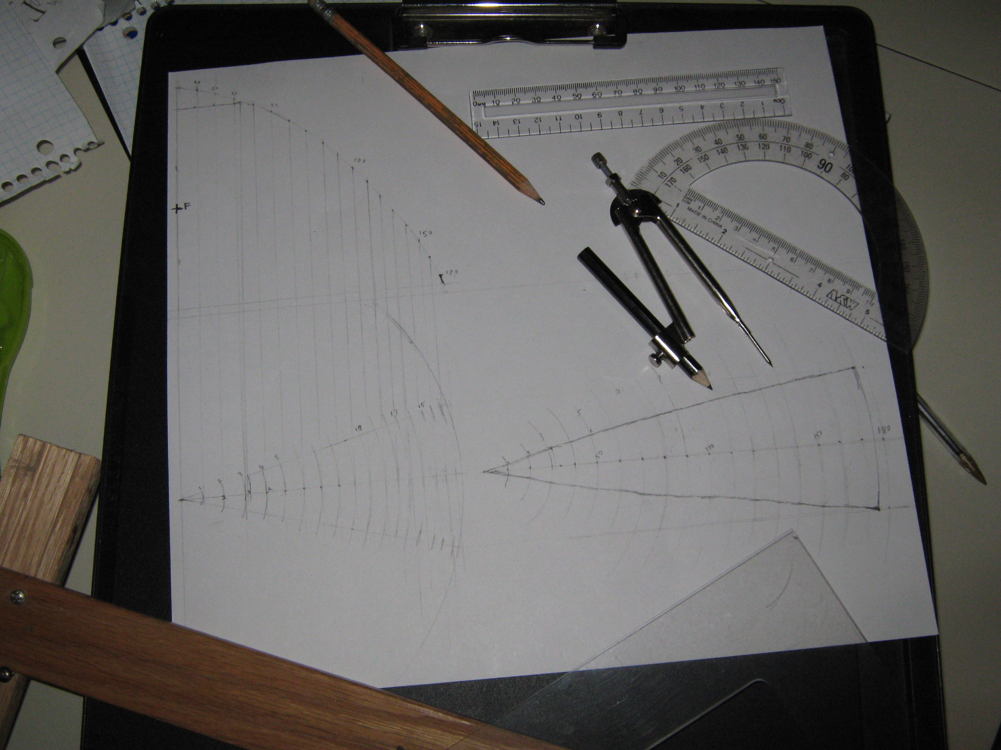 """Compound"" parabolic solar cooker, make a template with technical drawing"