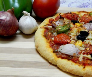 从面粉到烤箱的素食披萨..