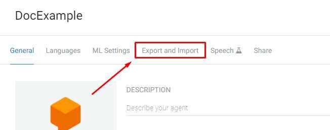 Dialogflow - Import: