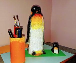 Papier-mâché Secret Storage Penguin