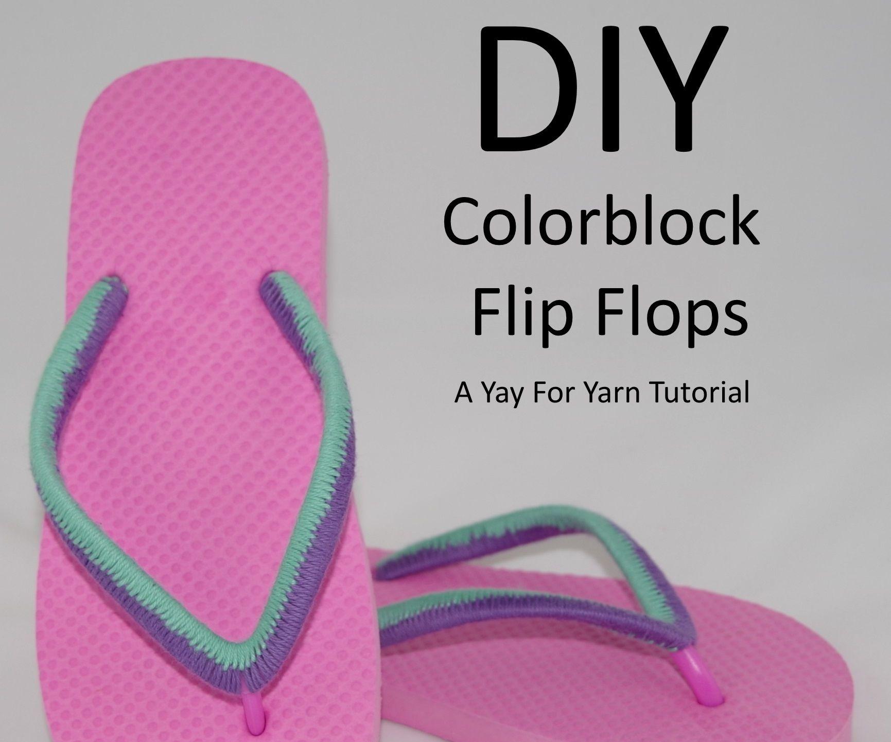 Yarn Bombed Colorblock Flip Flops