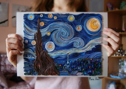 Video - Starry Night by Vincent Van Gogh - Quilling Animation