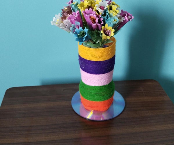 PLASTIC CARRY BAG FLOWERS WITH VASE AS HOME DECOR