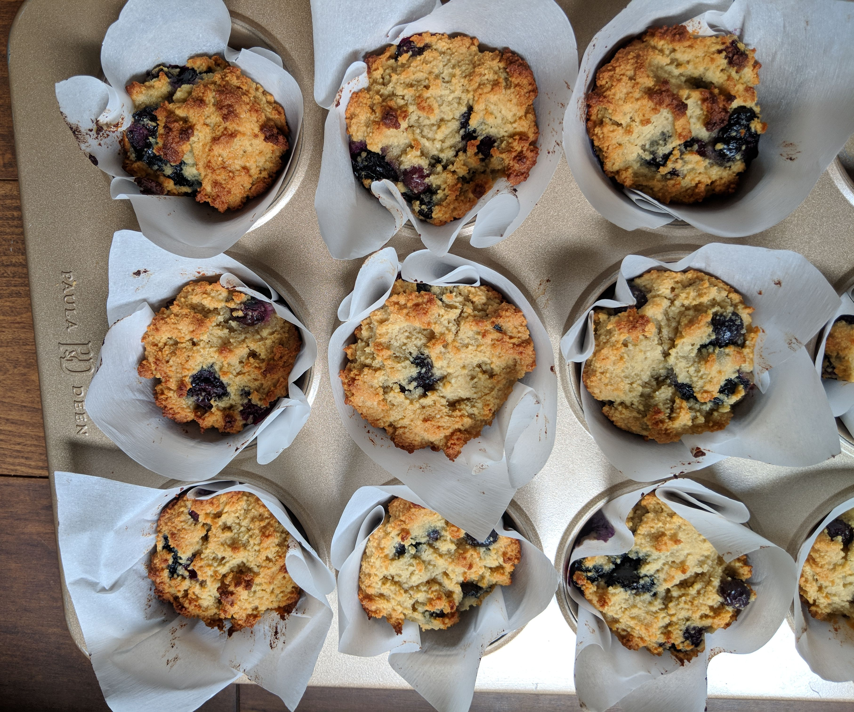 Organic Blueberry Muffins With Strawberry Jam and Coconut Cream
