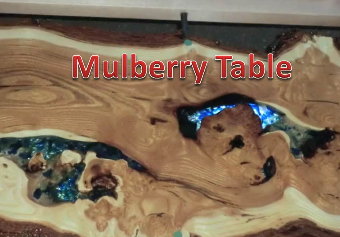 Blue Glass Mulberry Wood Table