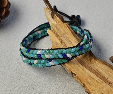 Pandahall Instruction on How to Make Leather Cord Wrap Bracelet With 2-hole Seed Beads
