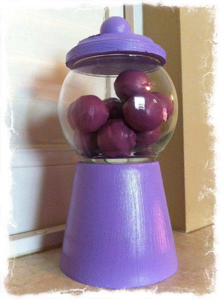 Bubble Gum Cake Pops With Bubble Gum Candy Bowl