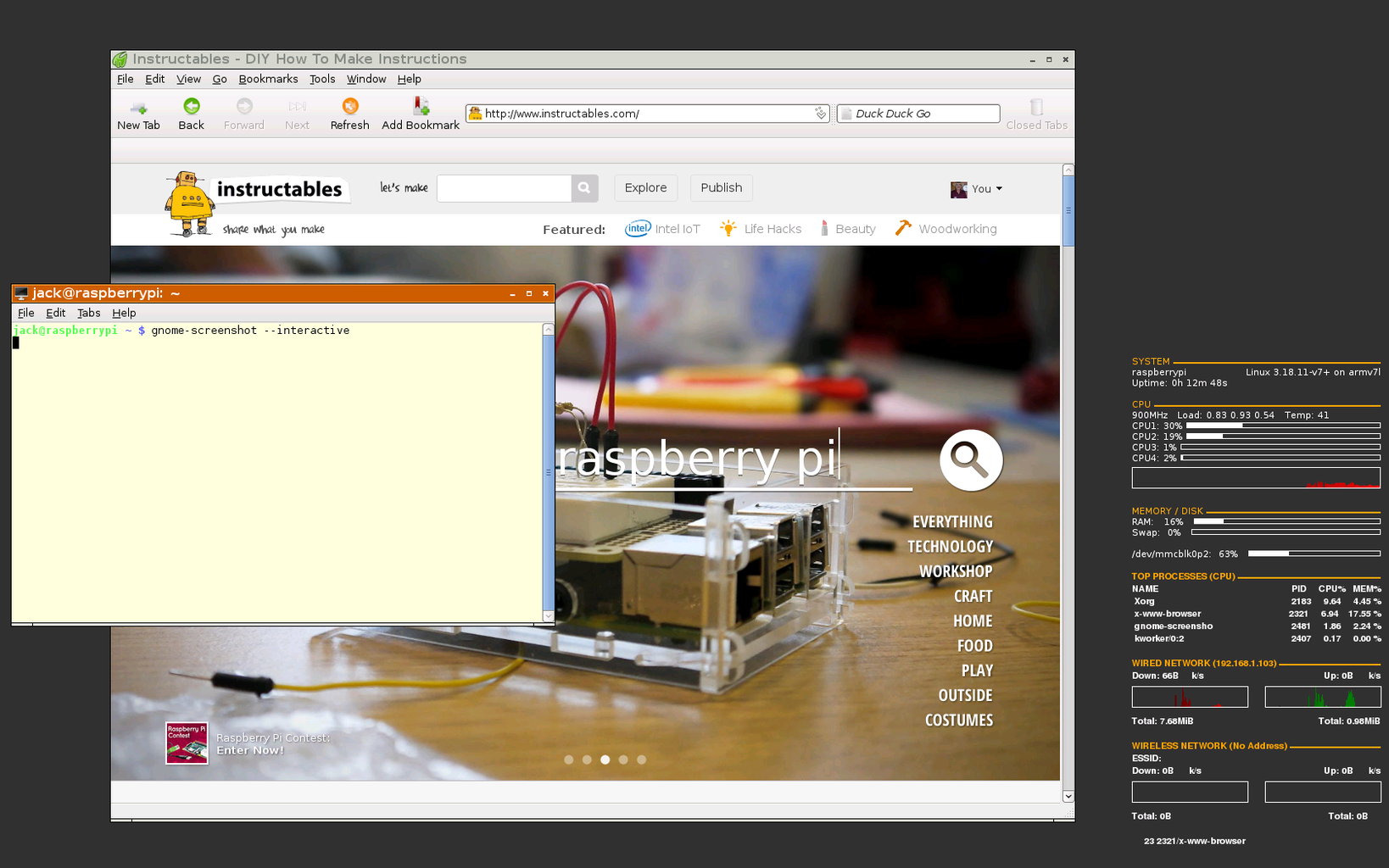 Simple Fast GUI for RaspberryPi